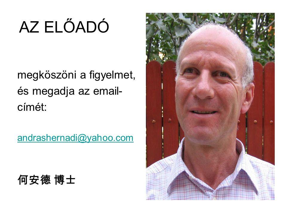AZ ELŐADÓ megköszöni a figyelmet, és megadja az email- címét: andrashernadi@yahoo.com 何安德 博士