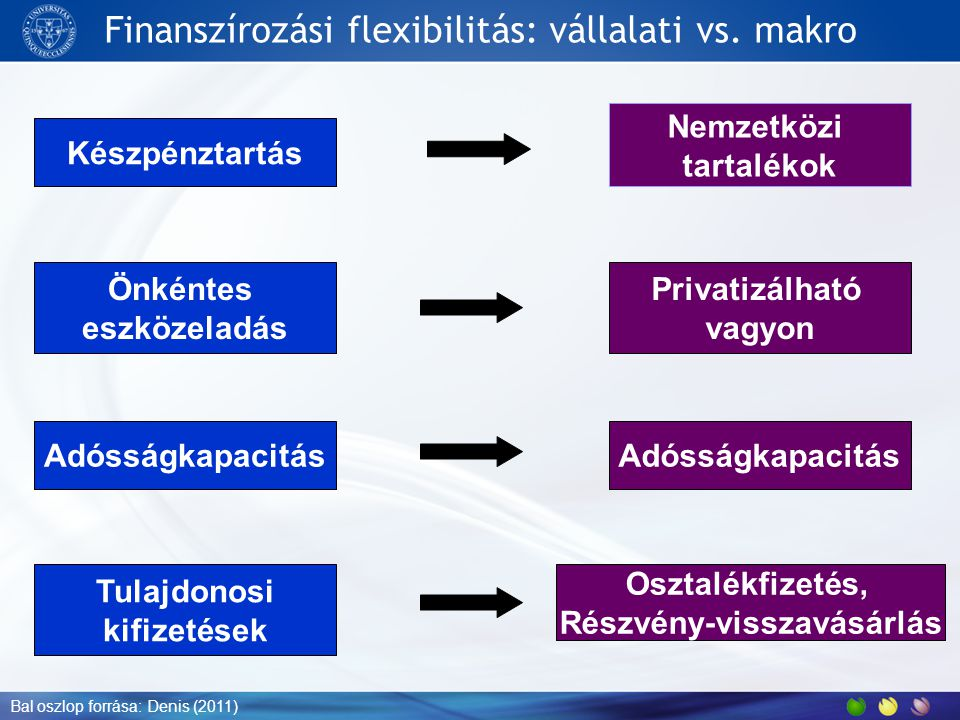 Finanszírozási flexibilitás: vállalati vs. makro Készpénztartás Önkéntes eszközeladás Adósságkapacitás Tulajdonosi kifizetések Nemzetközi tartalékok P