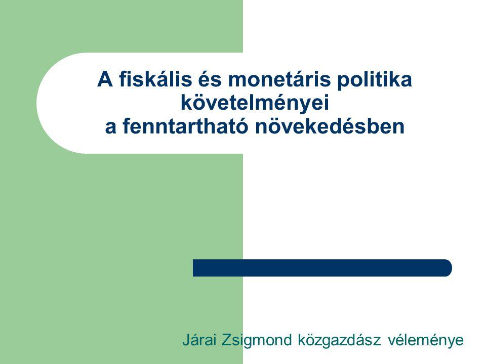 A fiskális és monetáris politika követelményei a fenntartható növekedésben Járai Zsigmond közgazdász véleménye