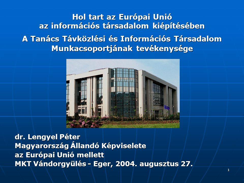 2 Tartalom Bevezetés - az Állandó Képviselet tevékenysége Bevezetés - az Állandó Képviselet tevékenysége Hírközlés és informatika a tanácsi döntéshozatali mechanizmusban Hírközlés és informatika a tanácsi döntéshozatali mechanizmusban Kormányzati EU-koordinációs mechanizmus Kormányzati EU-koordinációs mechanizmus Az Európai Unió Tanácsa Távközlési és Információs Társadalom Munkacsoportja Az Európai Unió Tanácsa Távközlési és Információs Társadalom Munkacsoportja Az Európai Bizottság informatikai súlypontjai Az Európai Bizottság informatikai súlypontjai Az olasz elnökség - az ENISA Az olasz elnökség - az ENISA Az ír elnökség – az eEurope folyamat értékelése Az ír elnökség – az eEurope folyamat értékelése A holland elnökség várható prioritásai A holland elnökség várható prioritásai Az eEurope folyamat jővője Az eEurope folyamat jővője Következtetések Következtetések Informatikai és hírközlési linkek (I-II-III) Informatikai és hírközlési linkek (I-II-III)