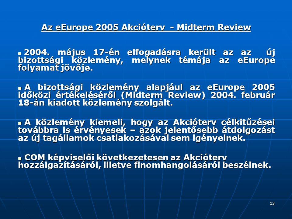 13 Az eEurope 2005 Akcióterv - Midterm Review 2004.