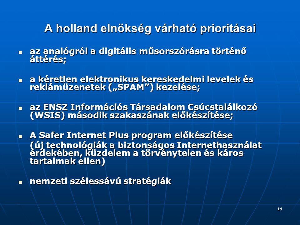 """14 A holland elnökség várható prioritásai az analógról a digitális műsorszórásra történő áttérés; az analógról a digitális műsorszórásra történő áttérés; a kéretlen elektronikus kereskedelmi levelek és reklámüzenetek (""""SPAM ) kezelése; a kéretlen elektronikus kereskedelmi levelek és reklámüzenetek (""""SPAM ) kezelése; az ENSZ Információs Társadalom Csúcstalálkozó (WSIS) második szakaszának előkészítése; az ENSZ Információs Társadalom Csúcstalálkozó (WSIS) második szakaszának előkészítése; A Safer Internet Plus program előkészítése A Safer Internet Plus program előkészítése (új technológiák a biztonságos Internethasználat érdekében, küzdelem a törvénytelen és káros tartalmak ellen) nemzeti szélessávú stratégiák nemzeti szélessávú stratégiák"""