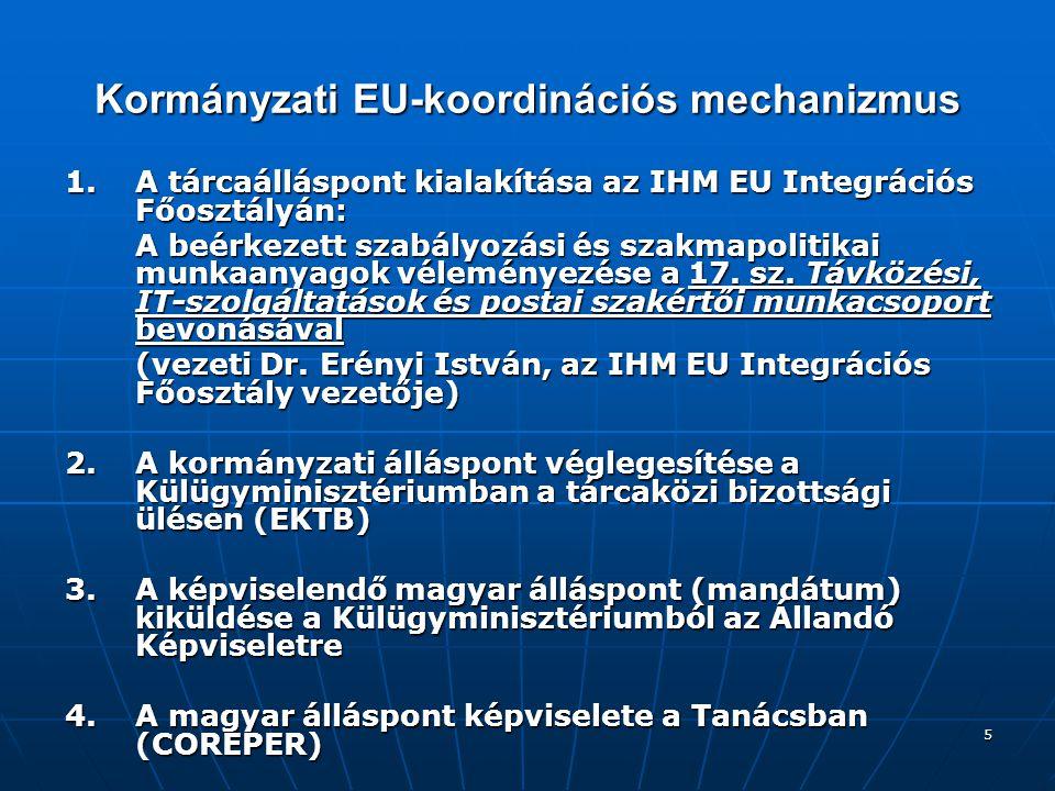 6 A T anács Távközlési és Információs Társadalom Munkacsoportja Összetétel: a régi tagállamok (15) és az új tagországok (10) szakértőiből álló fórum, mely heti rendszerességgel ülésezik Összetétel: a régi tagállamok (15) és az új tagországok (10) szakértőiből álló fórum, mely heti rendszerességgel ülésezik Funkció: az Európai Bizottság vagy a soros Elnökség javaslatával, kezdeményezésével kapcsolatos tagállami álláspontok ütköztetése, a dokumentumtervezetek egyeztetése és a tanácsi döntések előkészítése Funkció: az Európai Bizottság vagy a soros Elnökség javaslatával, kezdeményezésével kapcsolatos tagállami álláspontok ütköztetése, a dokumentumtervezetek egyeztetése és a tanácsi döntések előkészítése Elnökség: az Európai Tanács soros elnökségeivel összhangban a munkacsoport elnökségi funkcióit az alábbi államok szakdiplomatái látták/látják el: Elnökség: az Európai Tanács soros elnökségeivel összhangban a munkacsoport elnökségi funkcióit az alábbi államok szakdiplomatái látták/látják el: 2003.