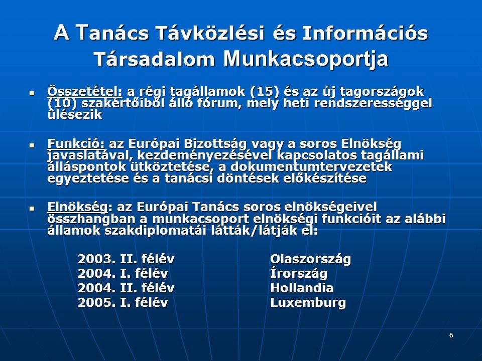 7 Az Európai Bizottság súlypontjai a 2002-es távközlési jogszabálycsomag (Regulatory Framework) transzpozíciója és a folyamatban lévő jogszabályi átültetés minősége a tagállamokban; illetve a csatlakozást követően az új tagállamokban; a 2002-es távközlési jogszabálycsomag (Regulatory Framework) transzpozíciója és a folyamatban lévő jogszabályi átültetés minősége a tagállamokban; illetve a csatlakozást követően az új tagállamokban; az eEurope programból kiemelt fókusszal a szélessávú Internet hozzáférés és a nemzeti szélessávú stratégiák kérdésköre; az eEurope 2005 Akcióterv közbenső jelentése (Mid-term review); az információbiztonság témaköréből az Európai Hálózati és Informatikai Biztonsági Ügynökség (ENISA) felállítása és tevékenységének megkezdése; az eEurope programból kiemelt fókusszal a szélessávú Internet hozzáférés és a nemzeti szélessávú stratégiák kérdésköre; az eEurope 2005 Akcióterv közbenső jelentése (Mid-term review); az információbiztonság témaköréből az Európai Hálózati és Informatikai Biztonsági Ügynökség (ENISA) felállítása és tevékenységének megkezdése; az EU 6.
