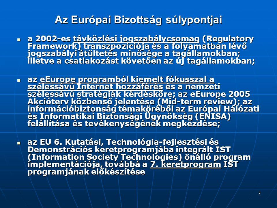 8 Az olasz elnökség prioritásai az analógról digitális műsorszórásra való áttérés kérdésköre az analógról digitális műsorszórásra való áttérés kérdésköre az IDABC program - az elektronikus kormányzati szolgáltatások pán-európai kiterjesztése az állami vezetés, az üzleti élet és az állampolgárok számára; az IDABC program - az elektronikus kormányzati szolgáltatások pán-európai kiterjesztése az állami vezetés, az üzleti élet és az állampolgárok számára; az európai digitális tartalom ösztönzése az európai digitális tartalom ösztönzése az Európai Hálózati és Informatikai Biztonsági Ügynökség létrehozása (ENISA) az Európai Hálózati és Informatikai Biztonsági Ügynökség létrehozása (ENISA)