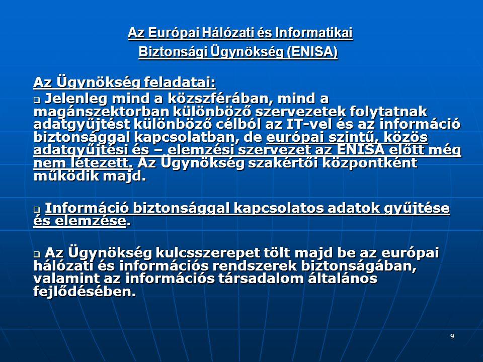 9 Az Európai Hálózati és Informatikai Biztonsági Ügynökség (ENISA) Az Európai Hálózati és Informatikai Biztonsági Ügynökség (ENISA) Az Ügynökség feladatai:  Jelenleg mind a közszférában, mind a magánszektorban különböző szervezetek folytatnak adatgyűjtést különböző célból az IT-vel és az információ biztonsággal kapcsolatban, de európai szintű, közös adatgyűjtési és – elemzési szervezet az ENISA előtt még nem létezett.