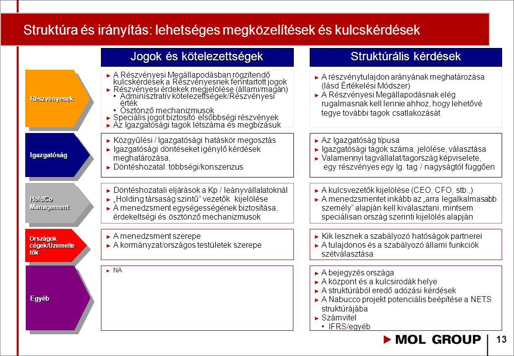 Struktúra és irányítás: lehetséges megközelítések és kulcskérdések EgyébEgyéb RészvényesekRészvényesek ► A Részvényesi Megállapodásban rögzítendő kulcskérdések a Részvényesnek fenntartott jogok ► Részvényesi érdekek megjelölése (állami/magán) Adminisztratív kötelezettségek/Részvényesi érték Ösztönző mechanizmusok ► Speciális jogot biztosító elsőbbségi részvények ► Az Igazgatósági tagok létszáma és megbízásuk ► A részvénytulajdon arányának meghatározása (lásd Értékelési Módszer) ► A Részvényesi Megállapodásnak elég rugalmasnak kell lennie ahhoz, hogy lehetővé tegye további tagok csatlakozását IgazgatóságIgazgatóság ► Közgyűlési / Igazgatósági hatáskör megosztás ► Igazgatósági döntéseket igénylő kérdések meghatározása, ► Döntéshozatal: többségi/konszenzus HoldCo Management Országok cégek/Üzemelte tők Jogok és kötelezettségek Struktúrális kérdések ► Az Igazgatóság típusa ► Igazgatósági tagok száma, jelölése, választása ► Valamennyi tagvállalat/tagország képviselete, egy részvényes egy Ig.