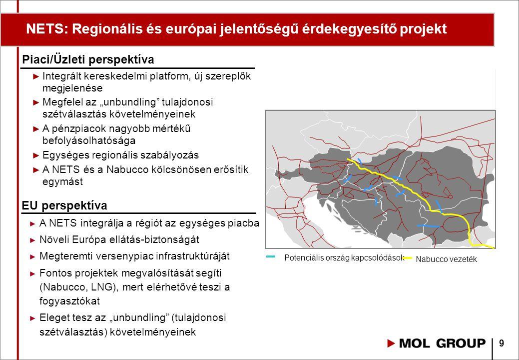 """Piaci/Üzleti perspektíva ► Integrált kereskedelmi platform, új szereplők megjelenése ► Megfelel az """"unbundling tulajdonosi szétválasztás követelményeinek ► A pénzpiacok nagyobb mértékű befolyásolhatósága ► Egységes regionális szabályozás ► A NETS és a Nabucco kölcsönösen erősítik egymást EU perspektíva ► A NETS integrálja a régiót az egységes piacba ► Növeli Európa ellátás-biztonságát ► Megteremti versenypiac infrastruktúráját ► Fontos projektek megvalósítását segíti (Nabucco, LNG), mert elérhetővé teszi a fogyasztókat ► Eleget tesz az """"unbundling (tulajdonosi szétválasztás) követelményeinek 9 NETS: Regionális és európai jelentőségű érdekegyesítő projekt"""