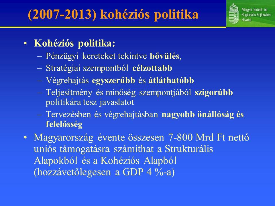 (2007-2013) kohéziós politika Kohéziós politika: –Pénzügyi kereteket tekintve bővülés, –Stratégiai szempontból célzottabb –Végrehajtás egyszerűbb és átláthatóbb –Teljesítmény és minőség szempontjából szigorúbb politikára tesz javaslatot –Tervezésben és végrehajtásban nagyobb önállóság és felelősség Magyarország évente összesen 7-800 Mrd Ft nettó uniós támogatásra számíthat a Strukturális Alapokból és a Kohéziós Alapból (hozzávetőlegesen a GDP 4 %-a)