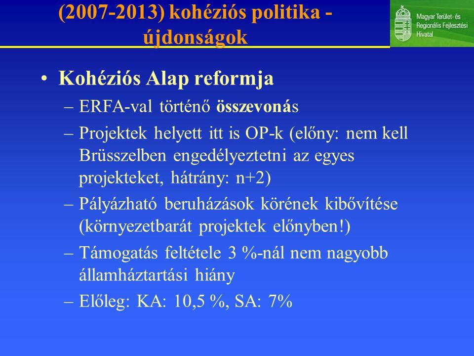 (2007-2013) kohéziós politika - újdonságok Kohéziós Alap reformja –ERFA-val történő összevonás –Projektek helyett itt is OP-k (előny: nem kell Brüsszelben engedélyeztetni az egyes projekteket, hátrány: n+2) –Pályázható beruházások körének kibővítése (környezetbarát projektek előnyben!) –Támogatás feltétele 3 %-nál nem nagyobb államháztartási hiány –Előleg: KA: 10,5 %, SA: 7%