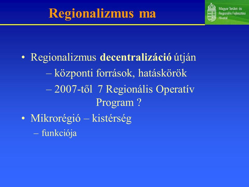 2005-2006-os időszak (célok, prioritások) Hazai közvetett és közvetlen támogatások közelítése, integrálása egy rendszerbe, ezek fokozatos decentralizálása a régiókhoz Területfejlesztés intézményrendszerének stabilitása, hatékony működésének fokozása Decentralizáció növelése Uniós programok finanszírozása Hazai és Uniós támogatások összehangolása