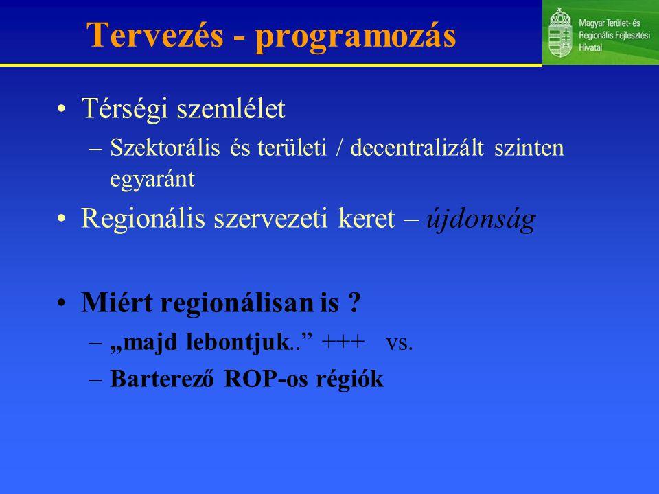 Tervezés - programozás Térségi szemlélet –Szektorális és területi / decentralizált szinten egyaránt Regionális szervezeti keret – újdonság Miért regionálisan is .