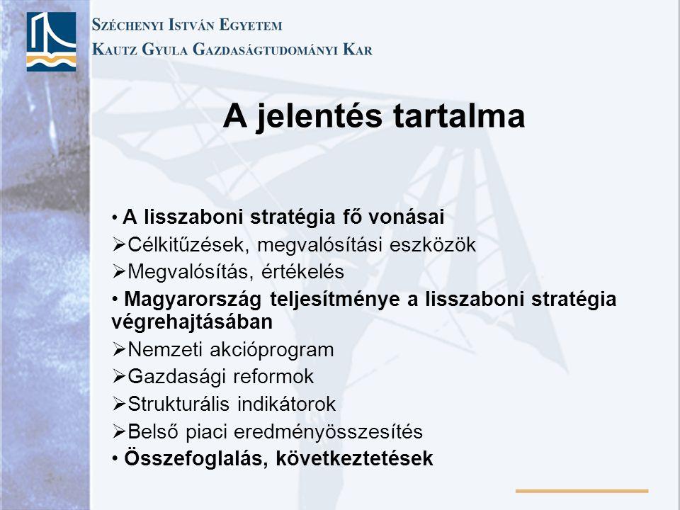 A jelentés tartalma A lisszaboni stratégia fő vonásai  Célkitűzések, megvalósítási eszközök  Megvalósítás, értékelés Magyarország teljesítménye a lisszaboni stratégia végrehajtásában  Nemzeti akcióprogram  Gazdasági reformok  Strukturális indikátorok  Belső piaci eredményösszesítés Összefoglalás, következtetések