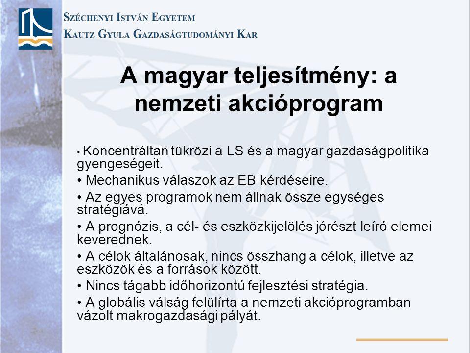 A magyar teljesítmény: a nemzeti akcióprogram Koncentráltan tükrözi a LS és a magyar gazdaságpolitika gyengeségeit.