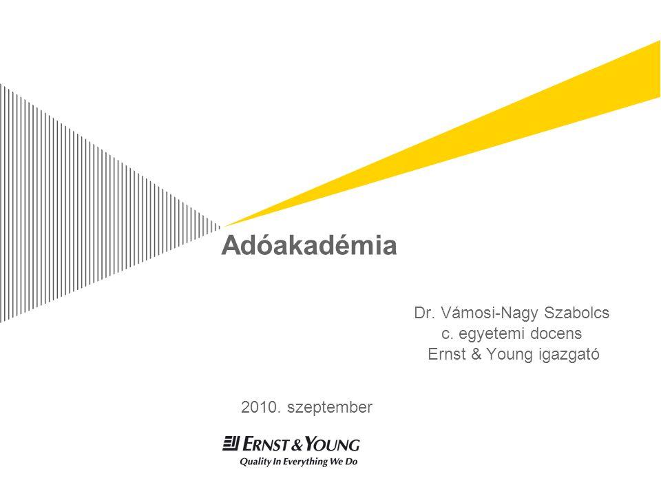 Adóakadémia Dr. Vámosi-Nagy Szabolcs c. egyetemi docens Ernst & Young igazgató 2010. szeptember