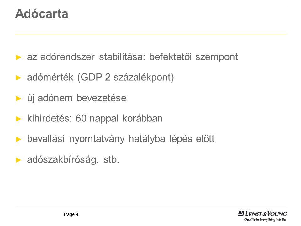 Page 4 Adócarta ► az adórendszer stabilitása: befektetői szempont ► adómérték (GDP 2 százalékpont) ► új adónem bevezetése ► kihirdetés: 60 nappal korá
