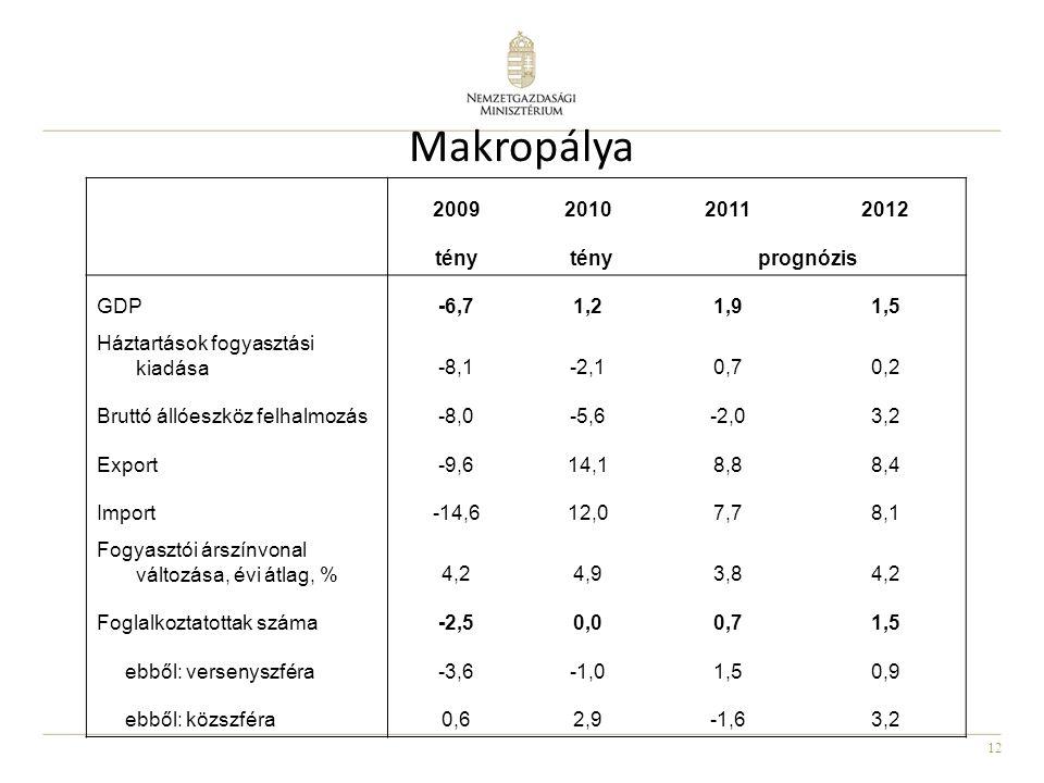 12 Makropálya 2009201020112012 tény prognózis GDP-6,71,21,91,5 Háztartások fogyasztási kiadása-8,1-2,10,70,2 Bruttó állóeszköz felhalmozás-8,0-5,6-2,03,2 Export-9,614,18,88,4 Import-14,612,07,78,1 Fogyasztói árszínvonal változása, évi átlag, %4,24,93,84,2 Foglalkoztatottak száma-2,50,00,71,5 ebből: versenyszféra-3,6-1,01,50,9 ebből: közszféra0,62,9-1,63,2