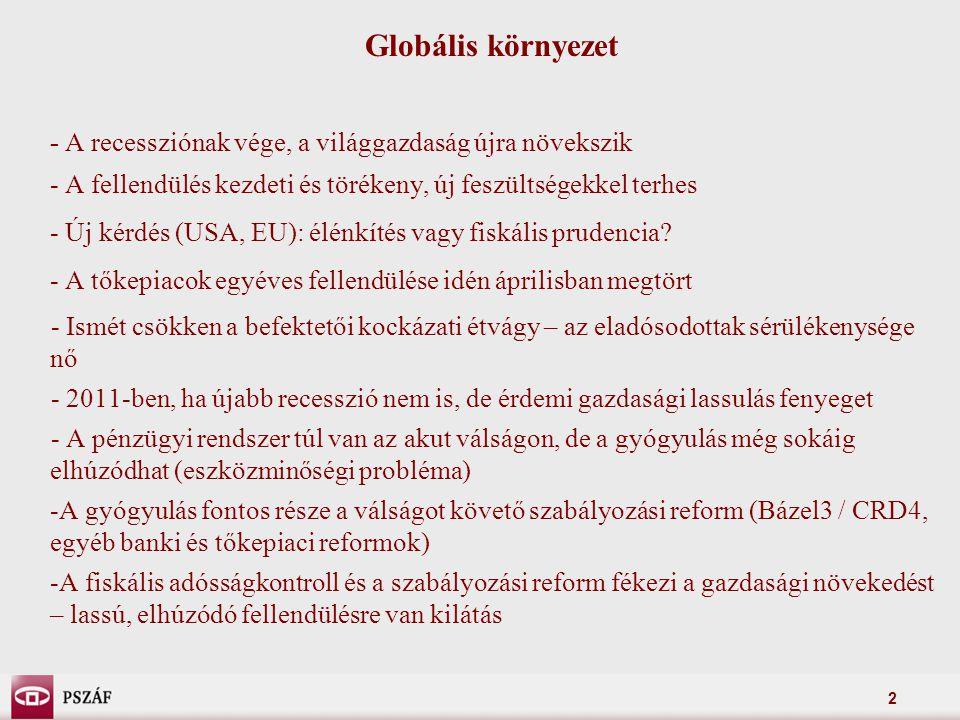 2 Globális környezet - A recessziónak vége, a világgazdaság újra növekszik - A fellendülés kezdeti és törékeny, új feszültségekkel terhes - Új kérdés (USA, EU): élénkítés vagy fiskális prudencia.
