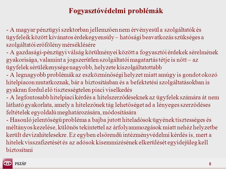 5 Fogyasztóvédelmi problémák - A magyar pénzügyi szektorban jellemzően nem érvényesül a szolgáltatók és ügyfeleik között kívánatos érdekegyensúly – hatósági beavatkozás szükséges a szolgáltatói erőfölény mérséklésére - A gazdasági-pénzügyi válság körülményei között a fogyasztói érdekek sérelmének gyakorisága, valamint a jogszerűtlen szolgáltatói magatartás tétje is nőtt – az ügyfelek sérülékenysége nagyobb, helyzete kiszolgáltatottabb - A legnagyobb problémák az eszközminőségi helyzet miatt amúgy is gondot okozó hitelpiacon mutatkoznak, bár a biztosításban és a befektetési szolgáltatásokban is gyakran fordul elő tisztességtelen piaci viselkedés - A legfontosabb hitelpiaci kérdés a hitelszerződéseknek az ügyfelek számára át nem látható gyakorlata, amely a hitelezőnek tág lehetőséget ad a lényeges szerződéses feltételek egyoldalú meghatározására, módosítására - Hasonló jelentőségű probléma a bajba jutott hiteladósok ügyének tisztességes és méltányos kezelése, különös tekintettel az árfolyammozgások miatt nehéz helyzetbe került devizahitelesekre.