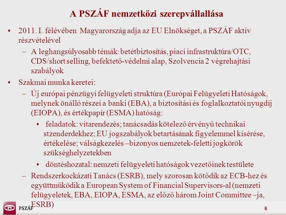 6 A PSZÁF nemzetközi szerepvállallása 2011. I.