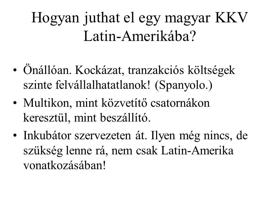 Hogyan juthat el egy magyar KKV Latin-Amerikába? Önállóan. Kockázat, tranzakciós költségek szinte felvállalhatatlanok! (Spanyolo.) Multikon, mint közv