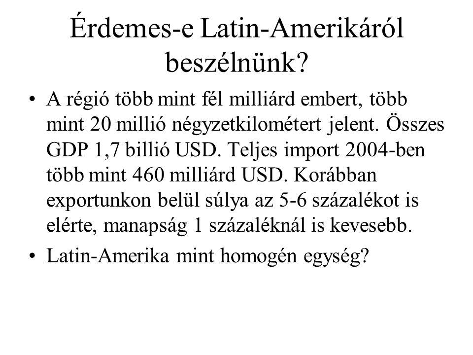 Érdemes-e Latin-Amerikáról beszélnünk? A régió több mint fél milliárd embert, több mint 20 millió négyzetkilométert jelent. Összes GDP 1,7 billió USD.