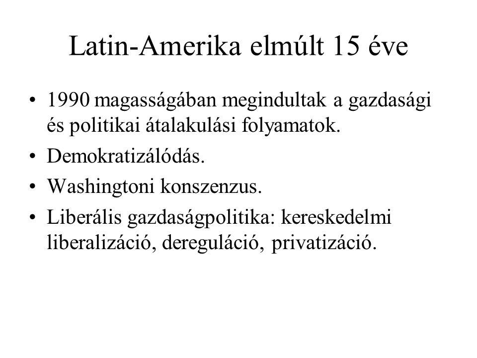 Latin-Amerika elmúlt 15 éve 1990 magasságában megindultak a gazdasági és politikai átalakulási folyamatok. Demokratizálódás. Washingtoni konszenzus. L
