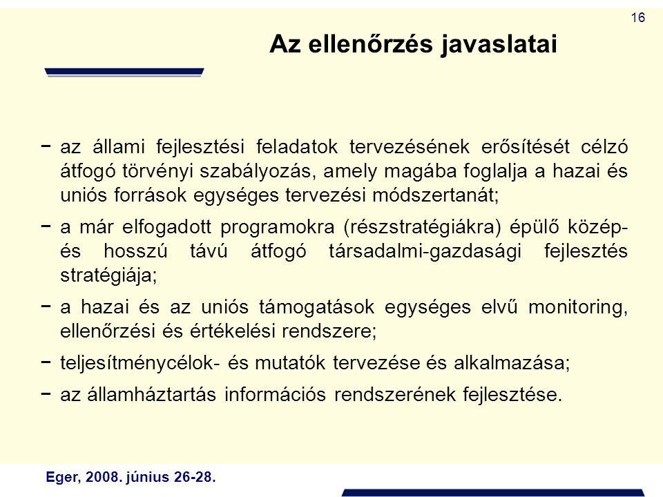 Eger, 2008. június 26-28. 16 −az állami fejlesztési feladatok tervezésének erősítését célzó átfogó törvényi szabályozás, amely magába foglalja a hazai