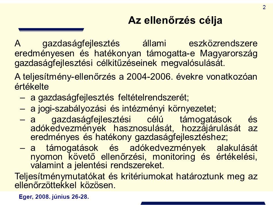 Eger, 2008. június 26-28. 2 A gazdaságfejlesztés állami eszközrendszere eredményesen és hatékonyan támogatta-e Magyarország gazdaságfejlesztési célkit