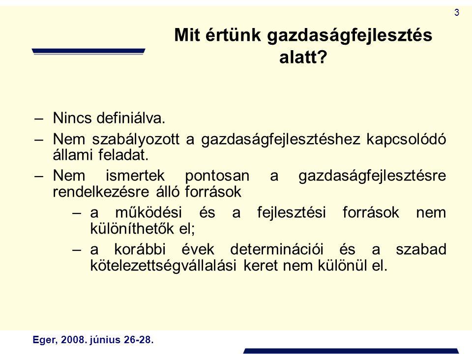 Eger, 2008. június 26-28. 3 –Nincs definiálva. –Nem szabályozott a gazdaságfejlesztéshez kapcsolódó állami feladat. –Nem ismertek pontosan a gazdaságf