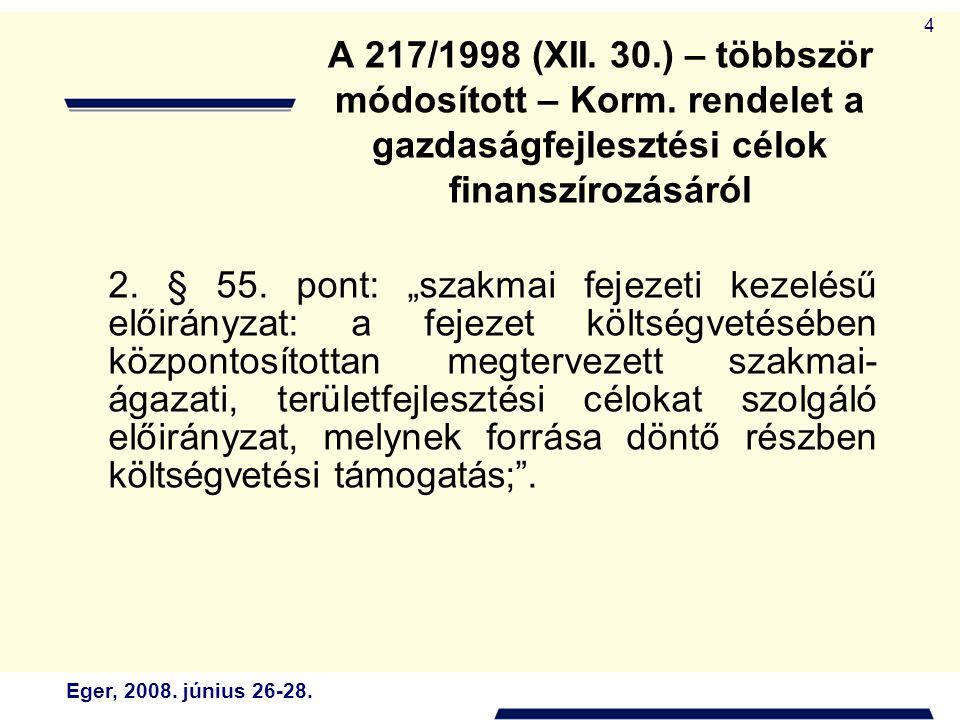 """Eger, 2008. június 26-28. 4 2. § 55. pont: """"szakmai fejezeti kezelésű előirányzat: a fejezet költségvetésében központosítottan megtervezett szakmai- á"""