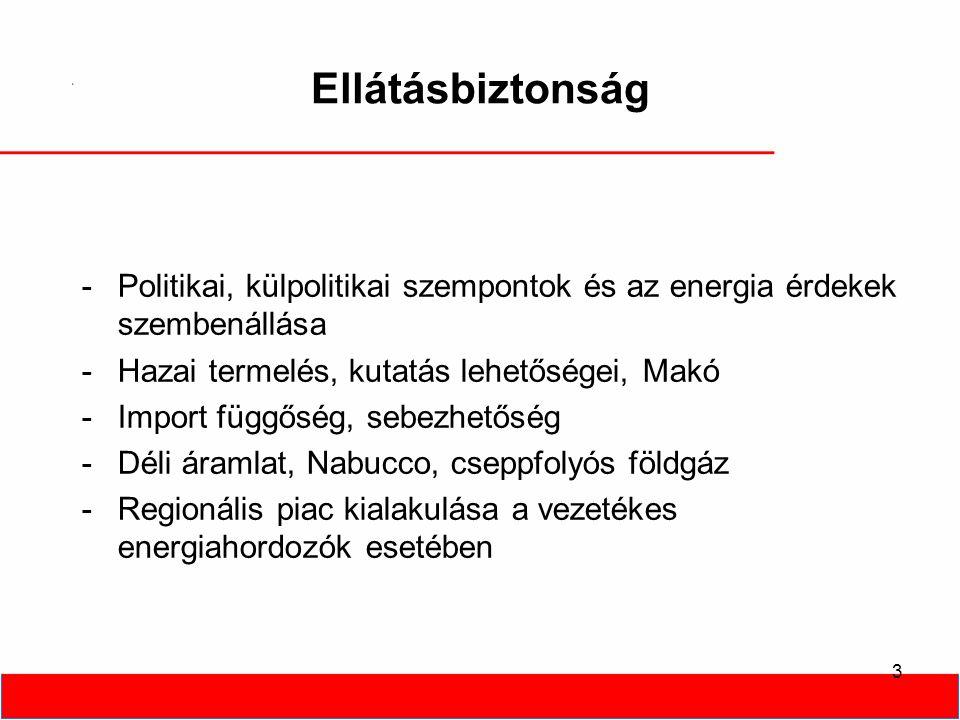 3 Ellátásbiztonság -Politikai, külpolitikai szempontok és az energia érdekek szembenállása -Hazai termelés, kutatás lehetőségei, Makó -Import függőség, sebezhetőség -Déli áramlat, Nabucco, cseppfolyós földgáz -Regionális piac kialakulása a vezetékes energiahordozók esetében