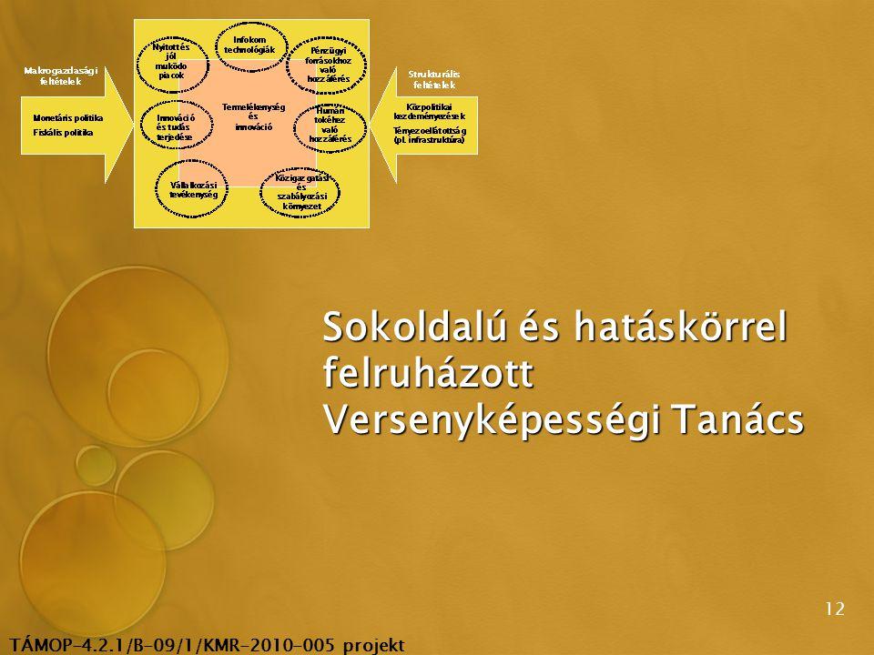 TÁMOP-4.2.1/B-09/1/KMR-2010-005 projekt 12 Sokoldalú és hatáskörrel felruházott Versenyképességi Tanács