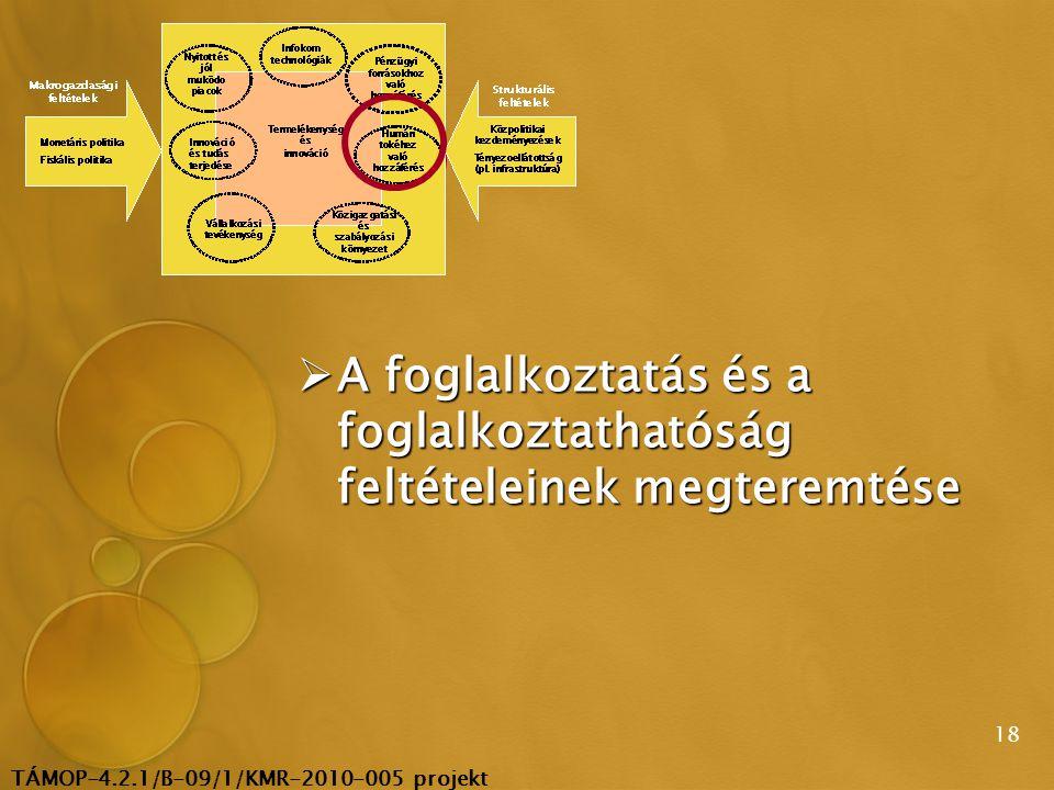 TÁMOP-4.2.1/B-09/1/KMR-2010-005 projekt 18  A foglalkoztatás és a foglalkoztathatóság feltételeinek megteremtése
