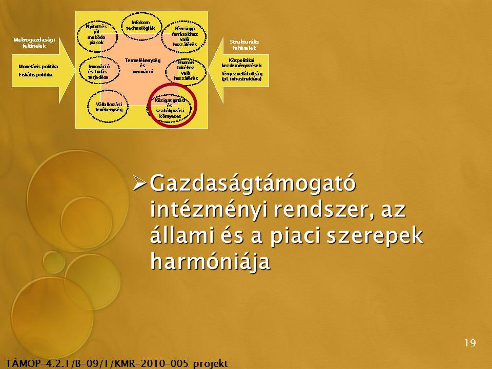 TÁMOP-4.2.1/B-09/1/KMR-2010-005 projekt 19  Gazdaságtámogató intézményi rendszer, az állami és a piaci szerepek harmóniája