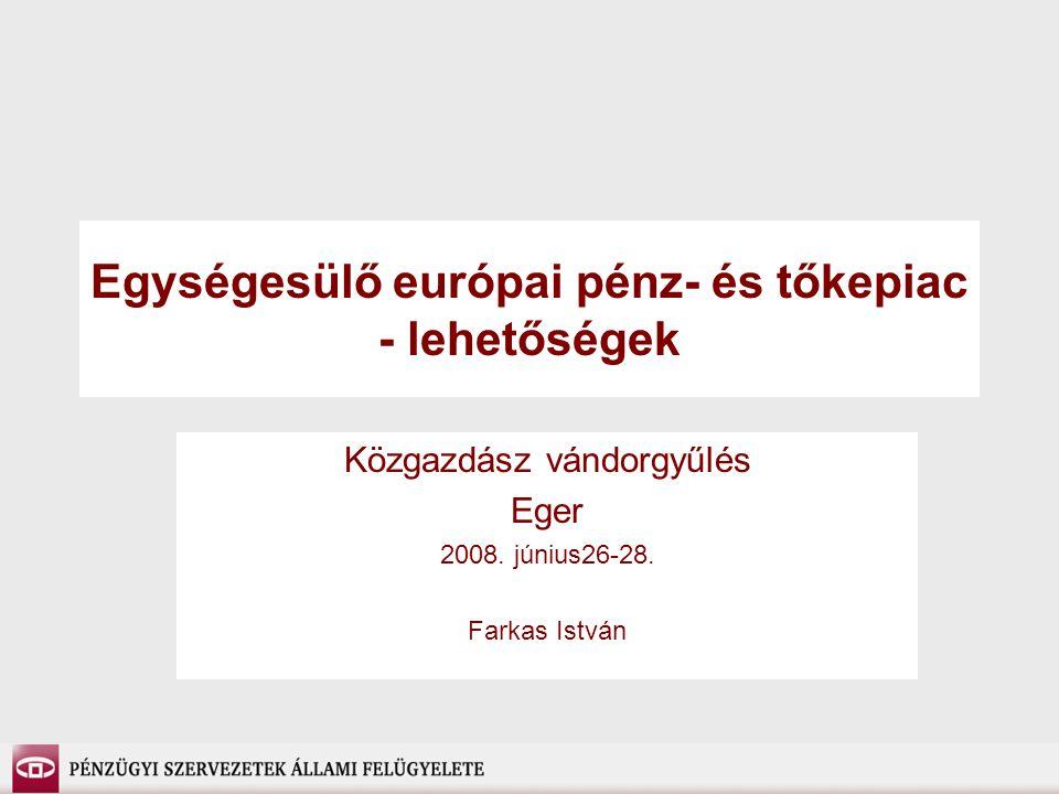 Egységesülő európai pénz- és tőkepiac - lehetőségek Közgazdász vándorgyűlés Eger 2008.