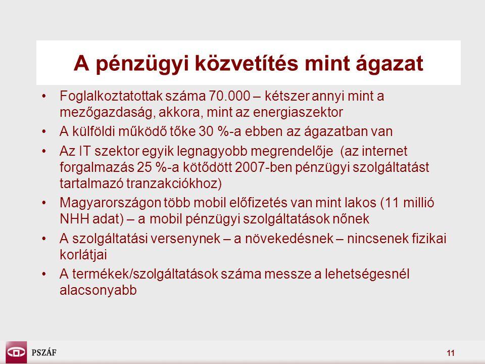 11 A pénzügyi közvetítés mint ágazat Foglalkoztatottak száma 70.000 – kétszer annyi mint a mezőgazdaság, akkora, mint az energiaszektor A külföldi működő tőke 30 %-a ebben az ágazatban van Az IT szektor egyik legnagyobb megrendelője (az internet forgalmazás 25 %-a kötődött 2007-ben pénzügyi szolgáltatást tartalmazó tranzakciókhoz) Magyarországon több mobil előfizetés van mint lakos (11 millió NHH adat) – a mobil pénzügyi szolgáltatások nőnek A szolgáltatási versenynek – a növekedésnek – nincsenek fizikai korlátjai A termékek/szolgáltatások száma messze a lehetségesnél alacsonyabb