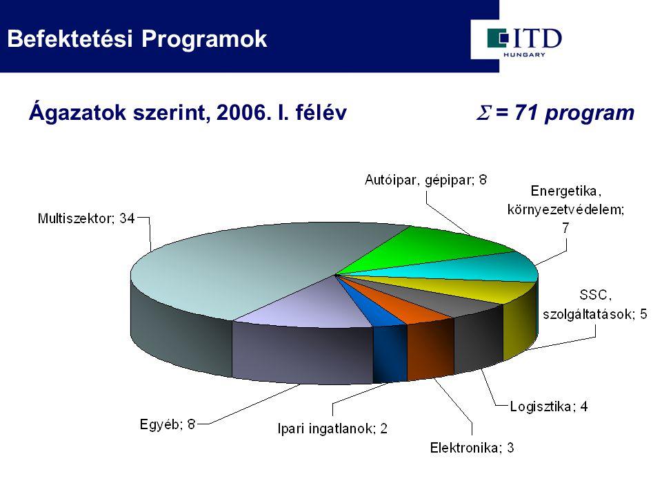  = 71 program Ágazatok szerint, 2006. I. félév Befektetési Programok