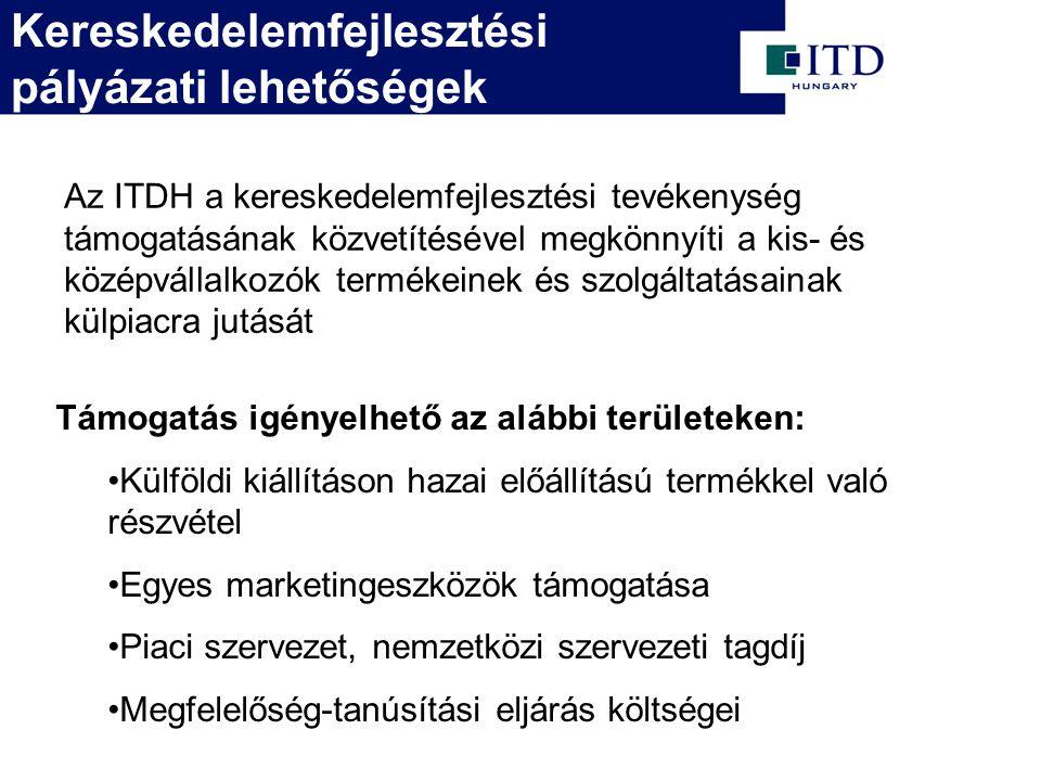 Kereskedelemfejlesztési pályázati lehetőségek Az ITDH a kereskedelemfejlesztési tevékenység támogatásának közvetítésével megkönnyíti a kis- és középvállalkozók termékeinek és szolgáltatásainak külpiacra jutását Támogatás igényelhető az alábbi területeken: Külföldi kiállításon hazai előállítású termékkel való részvétel Egyes marketingeszközök támogatása Piaci szervezet, nemzetközi szervezeti tagdíj Megfelelőség-tanúsítási eljárás költségei