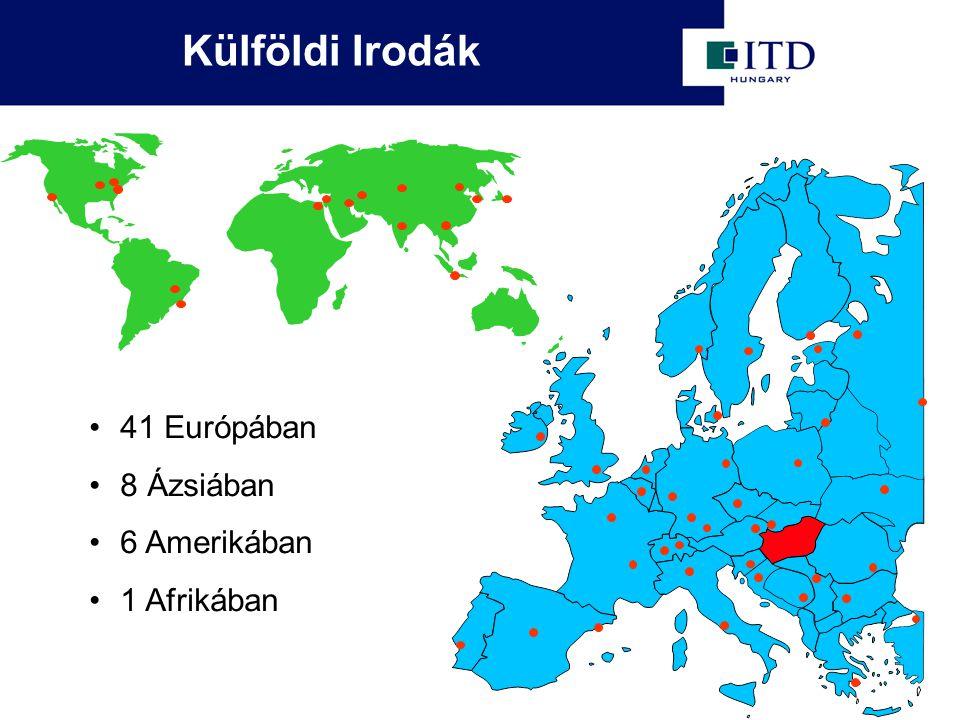 Külföldi Irodák 41 Európában 8 Ázsiában 6 Amerikában 1 Afrikában
