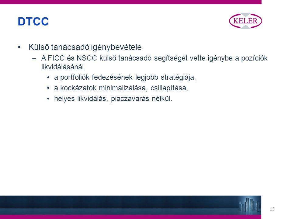 13 DTCC Külső tanácsadó igénybevétele –A FICC és NSCC külső tanácsadó segítségét vette igénybe a pozíciók likvidálásánál.