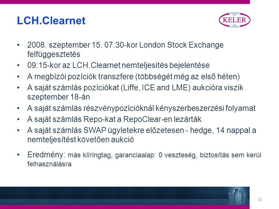 15 LCH.Clearnet 2008. szeptember 15.