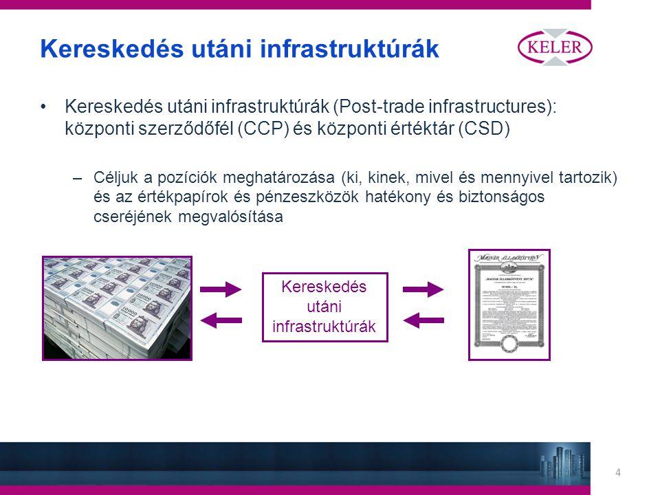 4 Kereskedés utáni infrastruktúrák Kereskedés utáni infrastruktúrák (Post-trade infrastructures): központi szerződőfél (CCP) és központi értéktár (CSD) –Céljuk a pozíciók meghatározása (ki, kinek, mivel és mennyivel tartozik) és az értékpapírok és pénzeszközök hatékony és biztonságos cseréjének megvalósítása Kereskedés utáni infrastruktúrák