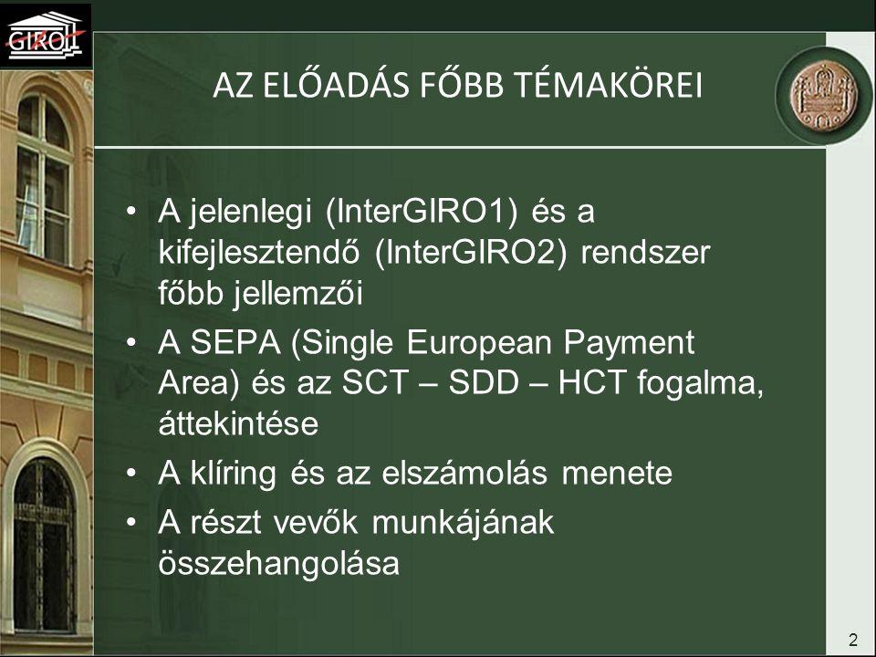 2 AZ ELŐADÁS FŐBB TÉMAKÖREI A jelenlegi (InterGIRO1) és a kifejlesztendő (InterGIRO2) rendszer főbb jellemzői A SEPA (Single European Payment Area) és