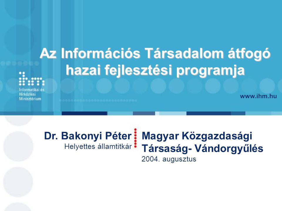 www.ihm.hu Dr.Bakonyi Péter Helyettes államtitkár Magyar Közgazdasági Társaság- Vándorgyűlés 2004.