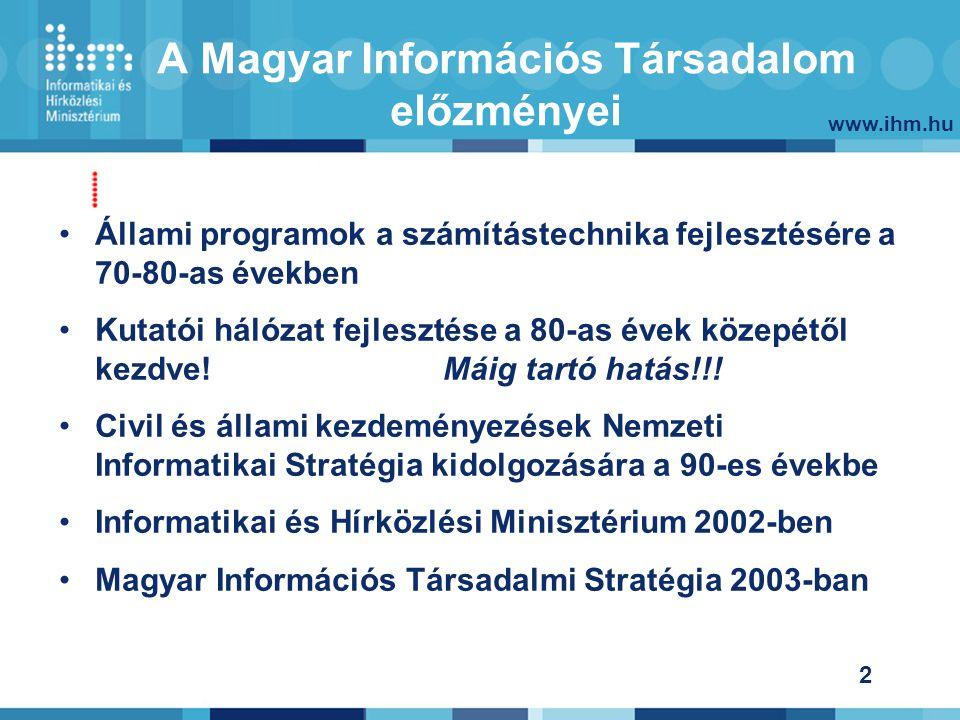 www.ihm.hu 33 Kormányzati lépések- infrastruktúra – szélessáv fejlesztése NIIF A kutatói hálózat európai színvonalának megtartása- IHM felügyelet 2004 januártól Közháló Társadalmilag elfogadott igények kielégítésében a állam közfeladatokat vállal.
