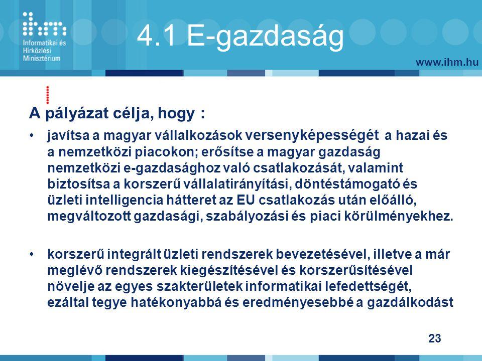 www.ihm.hu 23 4.1 E-gazdaság A pályázat célja, hogy : javítsa a magyar vállalkozások versenyképességét a hazai és a nemzetközi piacokon; erősítse a magyar gazdaság nemzetközi e-gazdasághoz való csatlakozását, valamint biztosítsa a korszerű vállalatirányítási, döntéstámogató és üzleti intelligencia hátteret az EU csatlakozás után előálló, megváltozott gazdasági, szabályozási és piaci körülményekhez.