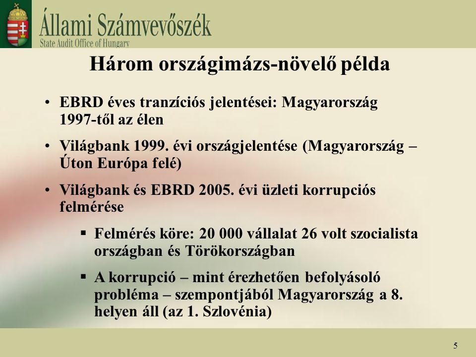 Három országimázs-növelő példa EBRD éves tranzíciós jelentései: Magyarország 1997-től az élen Világbank 1999. évi országjelentése (Magyarország – Úton