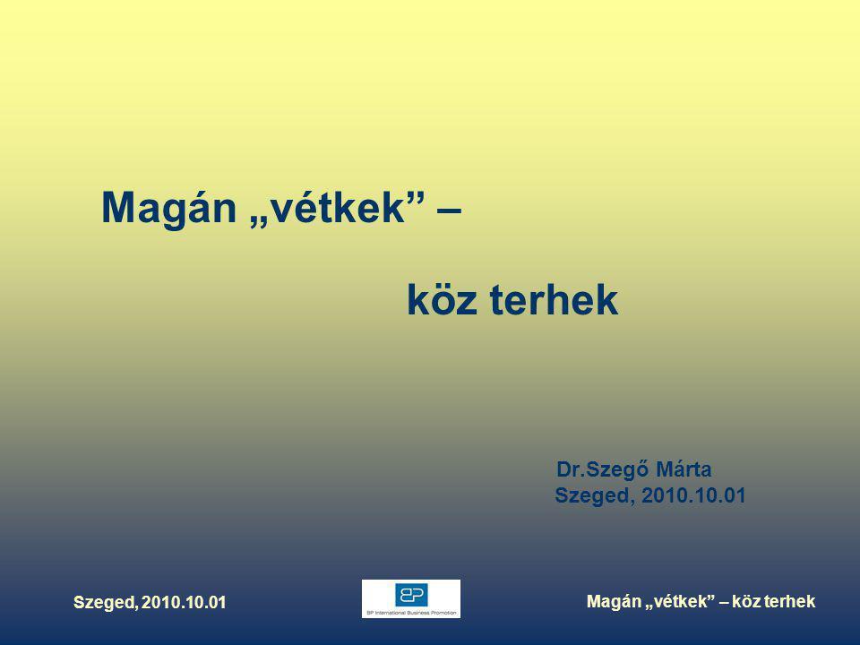 """Szeged, 2010.10.01 Magán """"vétkek – köz terhek Magán """"vétkek – köz terhek Dr.Szegő Márta Szeged, 2010.10.01"""