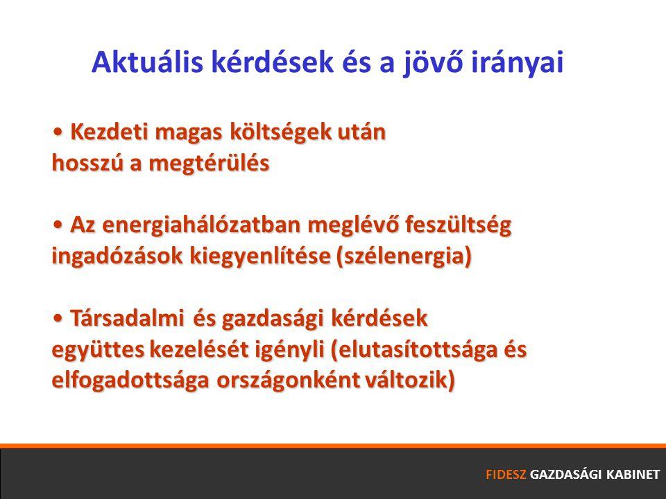 FIDESZ GAZDASÁGI KABINET Kezdeti magas költségek után Kezdeti magas költségek után hosszú a megtérülés Az energiahálózatban meglévő feszültség Az energiahálózatban meglévő feszültség ingadózások kiegyenlítése (szélenergia) Társadalmi és gazdasági kérdések Társadalmi és gazdasági kérdések együttes kezelését igényli (elutasítottsága és elfogadottsága országonként változik) Aktuális kérdések és a jövő irányai